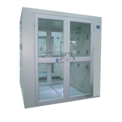 Air shower room with double open and hand-held doors