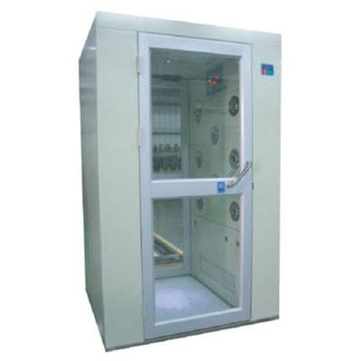 Air shower room with open hand door